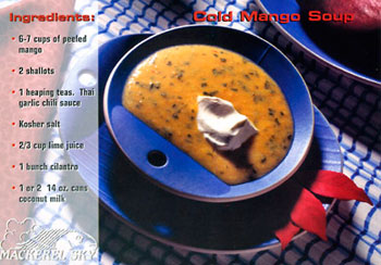 Cold Mango Soup recipe from Mackerel Sky Gallery of Contemporary Craft