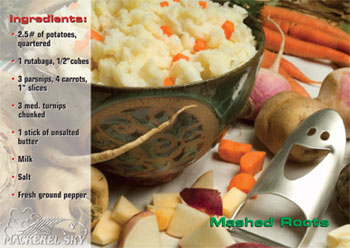 Mashed Roots recipe from Mackerel Sky Gallery of Contemporary Craft